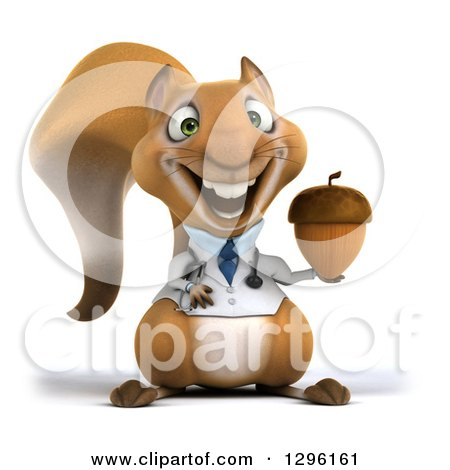 Clipart of a 3d Happy Doctor or Veterinarian Squirrel Holding an Acorn - Royalty Free Illustration by Julos