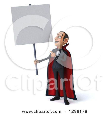 Clipart of a 3d Dracula Vampire Holding up and Pointing to a Blank Sign - Royalty Free Illustration by Julos