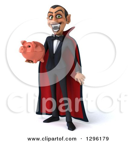 Clipart of a 3d Dracula Vampire Grinning and Holding a Piggy Bank - Royalty Free Illustration by Julos
