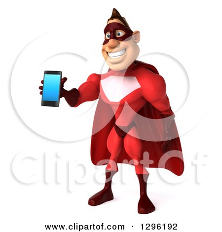 Clipart of a 3d Caucasian Red Super Hero Man Facing Slightly Left and Holding out a Smart Cell Phone - Royalty Free Illustration by Julos