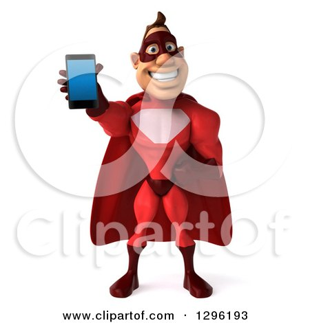 Clipart of a 3d Caucasian Red Super Hero Man Holding out a Smart Cell Phone - Royalty Free Illustration by Julos