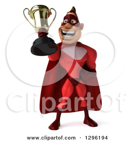 Clipart of a 3d Caucasian Red Super Hero Man Holding up a Trophy - Royalty Free Illustration by Julos