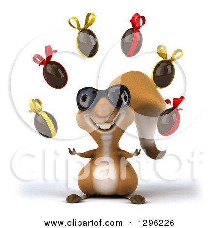Clipart of a 3d Squirrel Wearing Sunglasses and Juggling Chocolate Easter Egg - Royalty Free Illustration by Julos