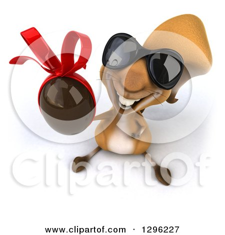 Clipart of a 3d Squirrel Wearing Sunglasses and Holding up a Chocolate Easter Egg - Royalty Free Illustration by Julos