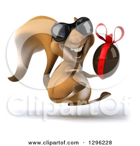 Clipart of a 3d Squirrel Wearing Sunglasses, Hopping and Holding a Chocolate Easter Egg - Royalty Free Illustration by Julos