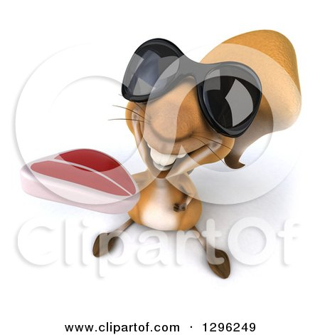 Clipart of a 3d Squirrel Wearing Sunglasses and Holding up a Beef Steak - Royalty Free Illustration by Julos