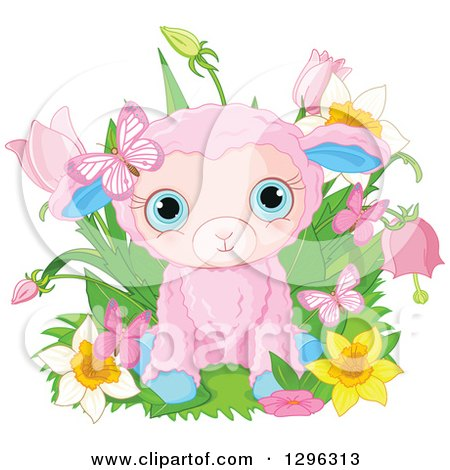 Clipart of a Cute Pink Easter Sheep Lamb with Spring Flowers and Butterflies - Royalty Free Vector Illustration by Pushkin