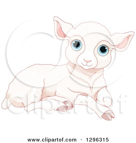 Clipart of a Cute Resting White Sheep Lamb with Blue Eyes - Royalty Free Vector Illustration by Pushkin