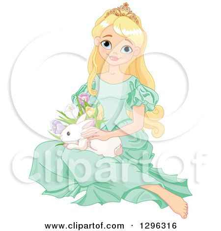 Clipart of a Pretty Blond Princess in a Green Dress, Sitting on the Floor with an Easter Bunny Rabbit and Spring Flowers - Royalty Free Vector Illustration by Pushkin