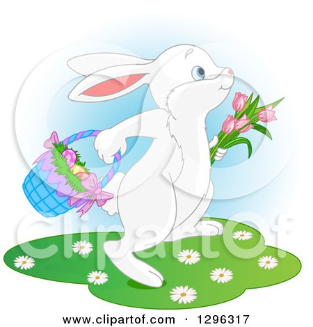 Clipart of a Cute White Easter Bunny Rabbit Hopping with Tulips and a Basket of Eggs, over Blue and White - Royalty Free Vector Illustration by Pushkin