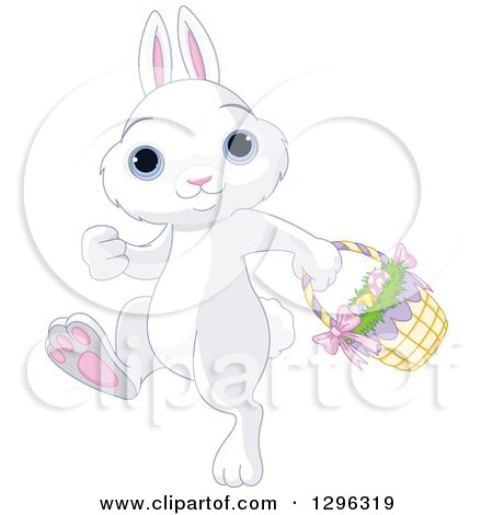Clipart of a Cute White Easter Bunny Rabbit with Blue Eyes, Walking to the Left with a Basket of Eggs - Royalty Free Vector Illustration by Pushkin