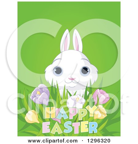 Clipart of a Cute White Bunny Rabbit with Blue Eyes, Looking over Spring Crocus Flowers and Happy Easter Text on Green - Royalty Free Vector Illustration by Pushkin