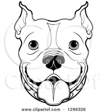 Clipart of a Black and White Happy Pitbull Dog Face - Royalty Free Vector Illustration by Pushkin