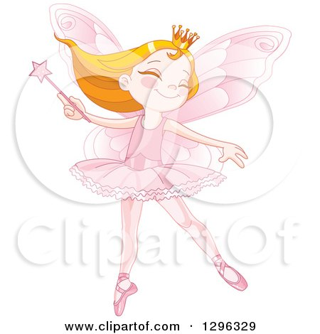 Clipart of a Happy Strawberry Blond Caucasian Fairy Princess Dancing with a Wand, in a Pink Ballerina Costume - Royalty Free Vector Illustration by Pushkin