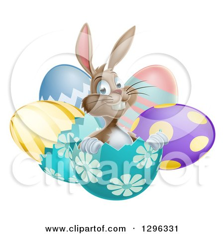 Clipart of a Happy Brown Easter Bunny Sitting in an Egg Shell - Royalty Free Vector Illustration by AtStockIllustration