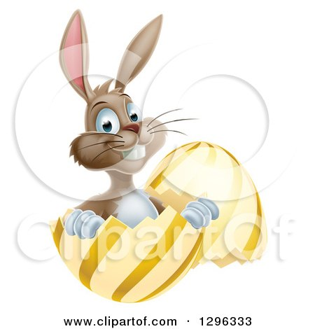Clipart of a Happy Brown Easter Bunny Sitting and Pointing in a Gold and Yellow Egg Shell - Royalty Free Vector Illustration by AtStockIllustration