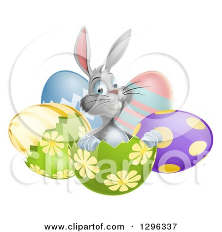 Clipart of a Happy Gray Easter Bunny Sitting in an Egg Shell - Royalty Free Vector Illustration by AtStockIllustration