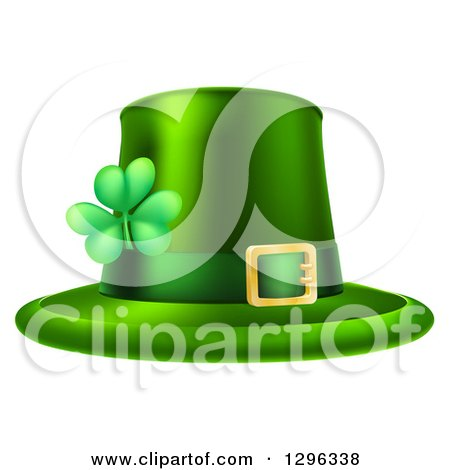 Green St Patricks Day Leprechaun Hat with a Shamrock Posters, Art Prints