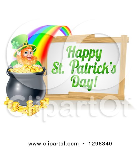 Clipart of a Happy St Patricks Day Sign with a Rainbow Leading to a Leprechaun at a Pot of Gold - Royalty Free Vector Illustration by AtStockIllustration