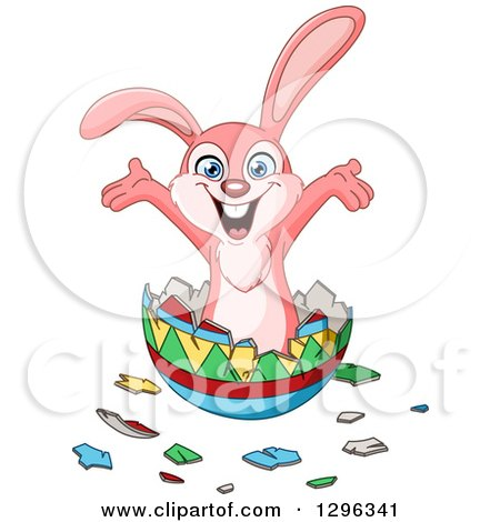 Clipart of a Cartoon Happy Pink Bunny Rabbit Popping out of an Easter Egg - Royalty Free Vector Illustration by yayayoyo