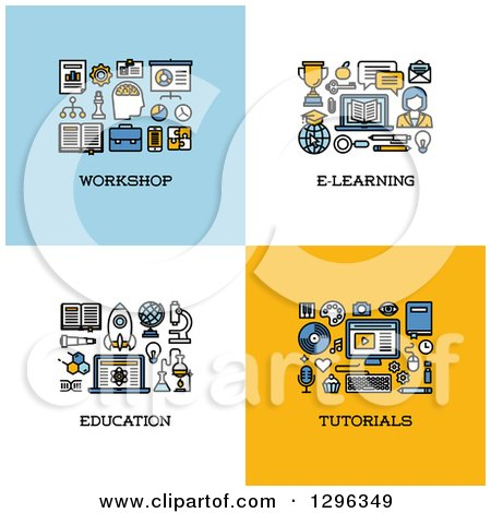 Clipart of Workshop, E-learning, Education, Tutorials Icons - Royalty Free Vector Illustration by elena