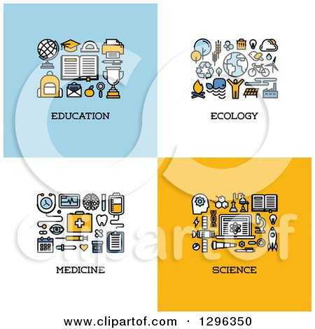 Clipart of Education, Ecology, Medicine, Science Icons - Royalty Free Vector Illustration by elena