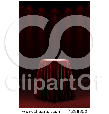 Clipart of a 3d Round Presentation Pedestal Table Draped with a Silk Cloth, on Red with Spotlights - Royalty Free Illustration by stockillustrations