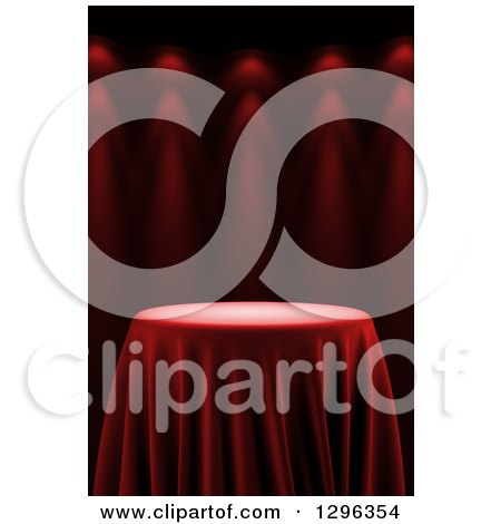 Clipart of a 3d Round Presentation Pedestal Table Draped with a Silk Cloth, on Red with Spotlights 3 - Royalty Free Illustration by stockillustrations