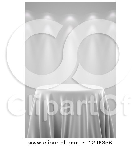 Clipart of a 3d Round Presentation Pedestal Table Draped with a White Silk Cloth, on Gray with Spotlights 2 - Royalty Free Illustration by stockillustrations