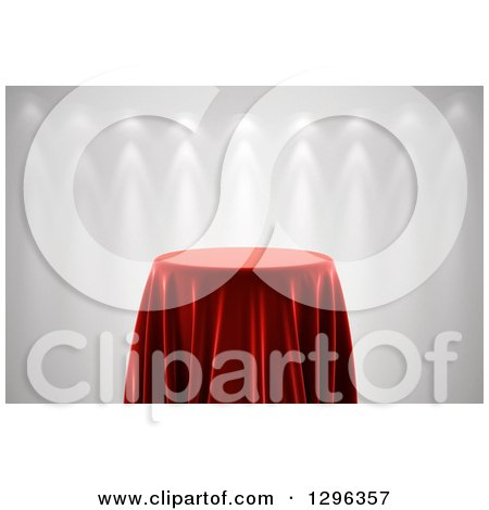 Clipart of a 3d Round Presentation Pedestal Table Draped with a Red Silk Cloth, on Gray with Spotlights - Royalty Free Illustration by stockillustrations