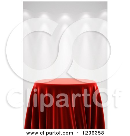 Clipart of a 3d Round Presentation Pedestal Table Draped with a Red Silk Cloth, on Gray with Spotlights 2 - Royalty Free Illustration by stockillustrations