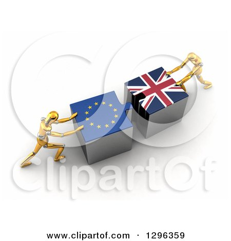 Clipart of 3d Gold Mannequins Pushing European and British Flag Puzzle Pieces Together to Find a Solution - Royalty Free Illustration by stockillustrations