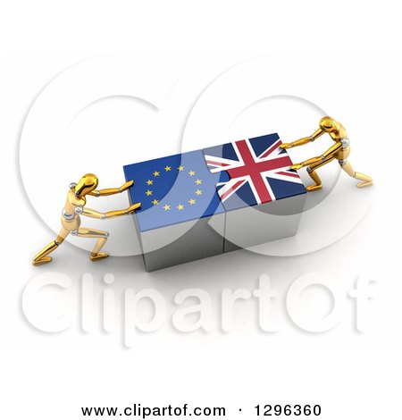 Clipart of 3d Gold Mannequins Connecting European and British Flag Puzzle Pieces Together to Find a Solution - Royalty Free Illustration by stockillustrations