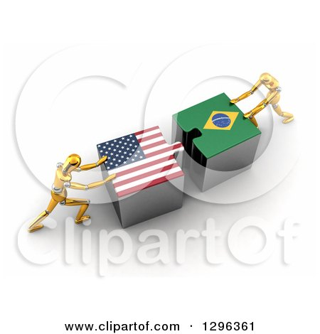 Clipart of 3d Gold Mannequins Pushing American and Brazilian Flag Puzzle Pieces Together to Find a Solution - Royalty Free Illustration by stockillustrations