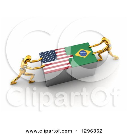 Clipart of 3d Gold Mannequins Connecting American and Brazilian Flag Puzzle Pieces to Find a Solution - Royalty Free Illustration by stockillustrations