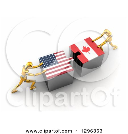 Clipart of 3d Gold Mannequins Pushing American and Canadian Flag Puzzle Pieces Together to Find a Solution - Royalty Free Illustration by stockillustrations