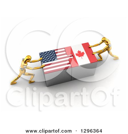 Clipart of 3d Gold Mannequins Connecting American and Canadian Flag Puzzle Pieces to Find a Solution - Royalty Free Illustration by stockillustrations