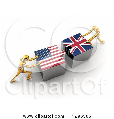 Clipart of 3d Gold Mannequins Pushing American and British Flag Puzzle Pieces Together to Find a Solution - Royalty Free Illustration by stockillustrations