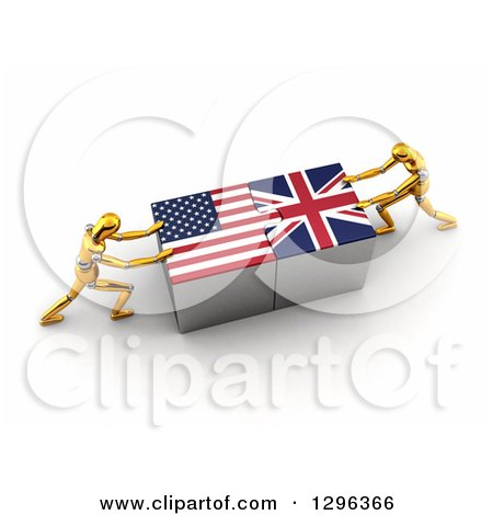 Clipart of 3d Gold Mannequins Connecting American and British Flag Puzzle Pieces to Find a Solution - Royalty Free Illustration by stockillustrations
