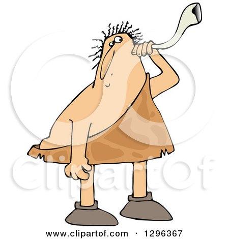Clipart of a Chubby Deaf Caveman Using an Ear Horn - Royalty Free Vector Illustration by djart