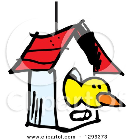 Clipart of a Sketched Yellow Bird Peeking out of a House - Royalty Free Vector Illustration by Johnny Sajem