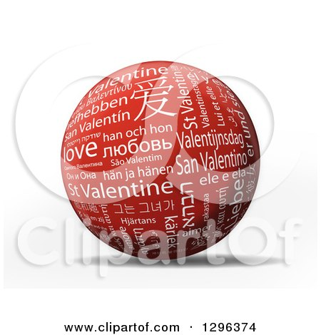 Clipart of a 3d Red and White St Valentine Sphere with Different Languages, over White - Royalty Free Illustration by MacX