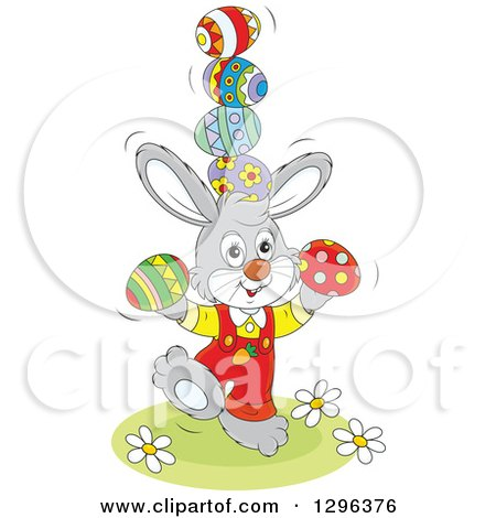 Clipart of a Cartoon Gray Easter Bunny Rabbit Balancing Eggs - Royalty Free Vector Illustration by Alex Bannykh