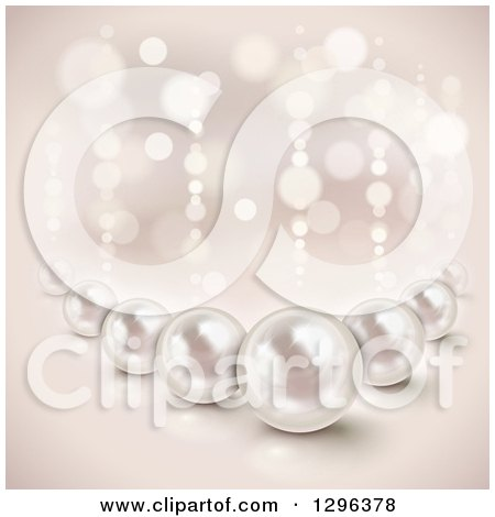 Clipart of a Background of 3d Shiny Pearls and Lights - Royalty Free Vector Illustration by Oligo