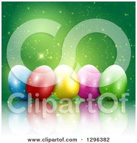 Clipart of a 3d Colorful Easter Eggs with Magic Sparkles on Green - Royalty Free Vector Illustration by KJ Pargeter
