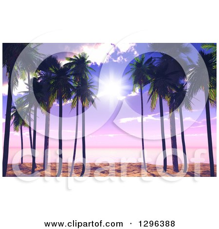 Clipart of a 3d Purple Sunset Sky and Sunshine Through Palm Trees on a Tropical Beach - Royalty Free Illustration by KJ Pargeter
