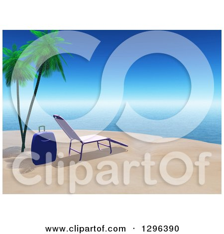 Clipart of a 3d Suitcase and Chaise Lounge on a Tropical Beach - Royalty Free Illustration by KJ Pargeter