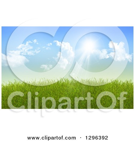 Clipart of a Background of Sun Shining down on 3d Green Spring Grass - Royalty Free Illustration by KJ Pargeter