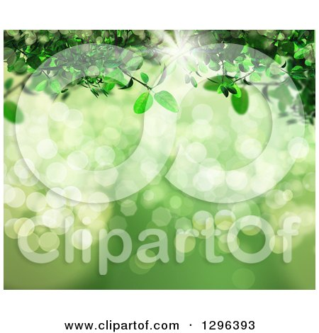 Clipart of a 3d Green Vine over Bokeh Flares with Sunshine - Royalty Free Illustration by KJ Pargeter