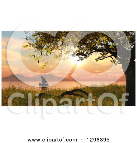 Clipart of a 3d Sailboat at Sunset on a Lake or River - Royalty Free Illustration by KJ Pargeter